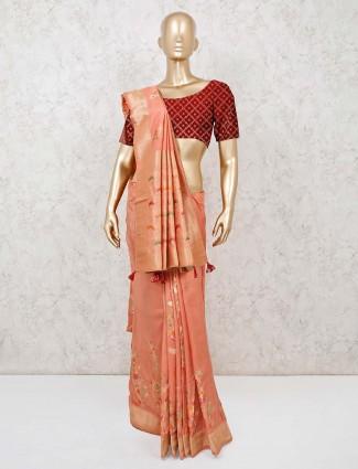 Banarasi silk peach sari