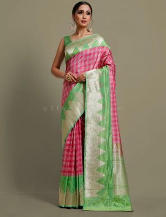 Banarasi silk pink designer saree