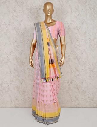 Banarasi silk pink saree