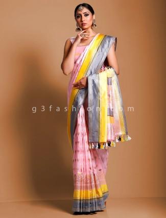 Pure handloom banarasi silk pink saree