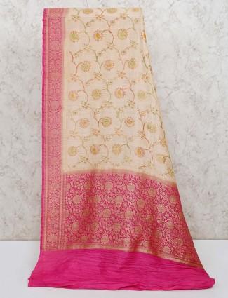 Banarasi silk reception beige saree