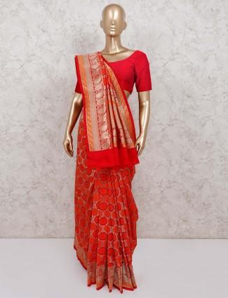 Banarasi silk red saree for wedding occasion
