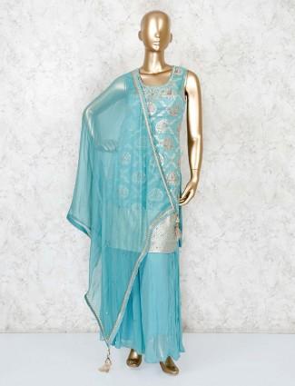 Banarasi silk sea green punjabi palazzo suit