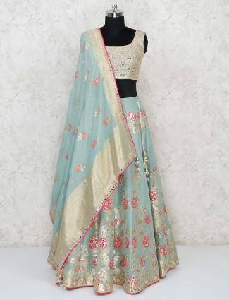 Banarasi silk traditional wear green lehenga choli