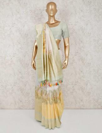 Banarasi silk yellow wedding saree