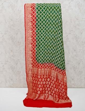 Bandhani saree in green printed
