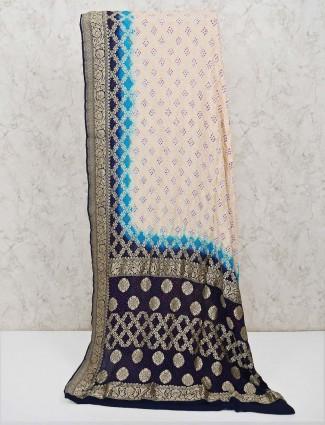 Bandhej cream printed saree for wedding