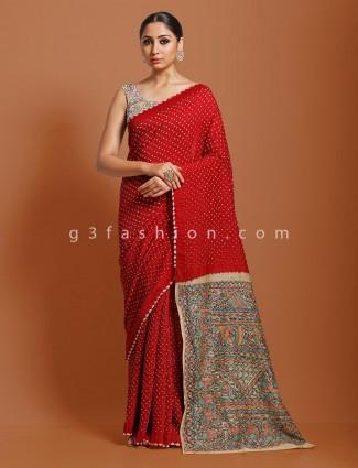 Bandhej exclusive maroon kalamkari saree