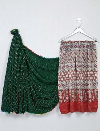 Bandhej fabric green and red saree
