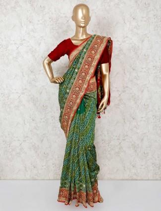 Bandhej green wedding saree