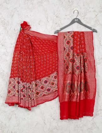 Bandhej red saree for wedding days