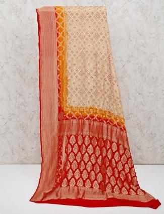 Bandhej saree in beige printed