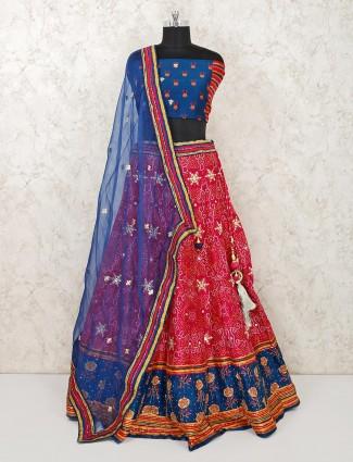 Bandhej wedding magenta semi stitchded lehenga choli