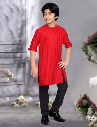 Bandhgala red classic cotton fabric kurta suit