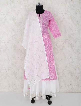 Bandhni printed pink hue cotton lehenga suit