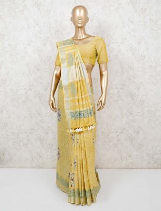 Beautifiul yellow cotton saree in printed
