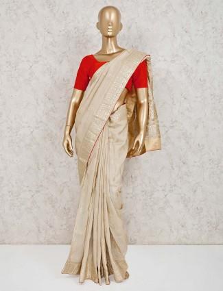 Beautiful beige wedding dola silk saree