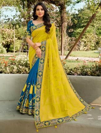 Beautiful blue and yellow half n half saree