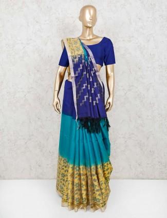 Beautiful blue and yellow pure silk saree