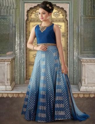 Beautiful blue colored raw silk party lehenga choli