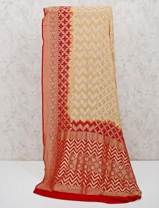 Beautiful cream bandhej saree