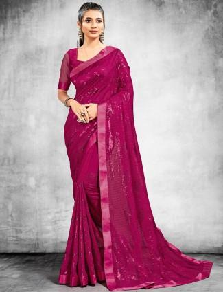 Beautiful georgette party wear saree in purple
