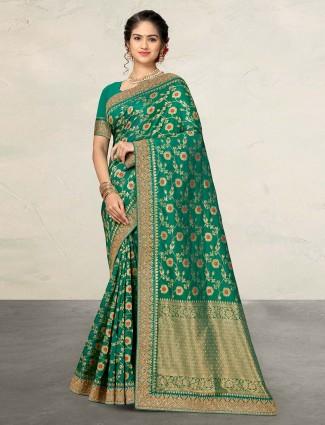Beautiful green banarasi silk sari
