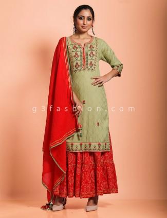 Beautiful green cotton festive wear sharara set