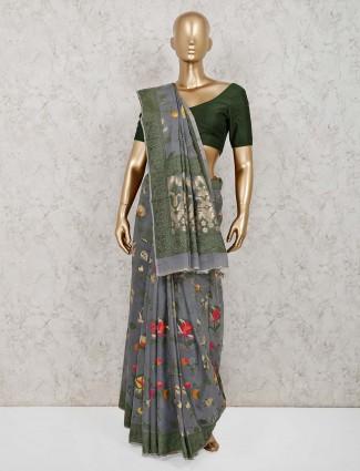 Beautiful grey handloom cotton saree with blouse piece