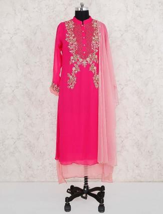 Beautiful magenta color double layer salwar suit