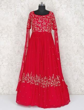 Beautiful magenta color georgette floor length gown