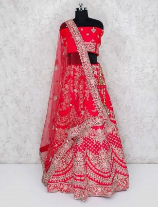 Beautiful magenta color semi stitched lehenga choli in raw silk fabric