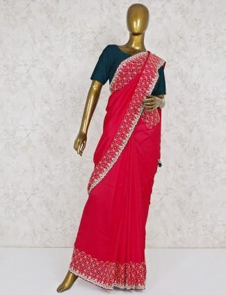 Beautiful magenta hue saree in semi silk