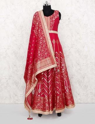 Beautiful magenta hue silk anarkali salwar suit