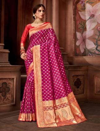 Beautiful magenta hue wedding silk saree