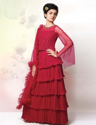 Beautiful magenta layer style lehenga choli
