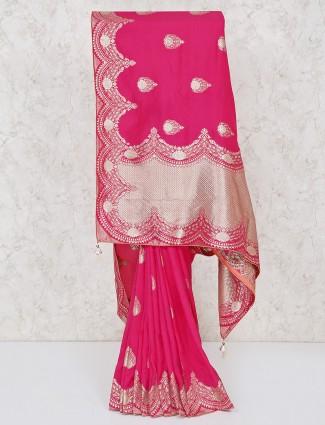 Beautiful magenta saree in silk