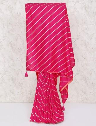 Beautiful magenta silk leheriya saree