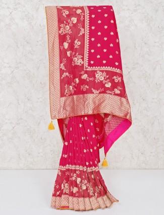 Beautiful magenta wedding silk saree