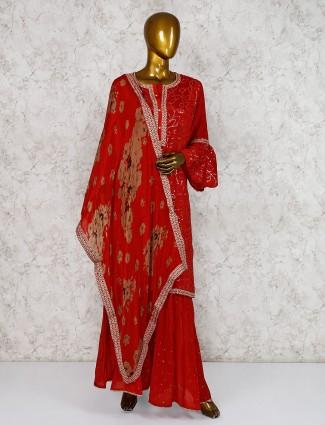 Beautiful maroon georgette punjabi sharara suit