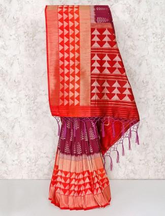 Beautiful maroon saree in semi silk