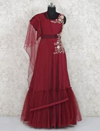 Beautiful maroon satin gown