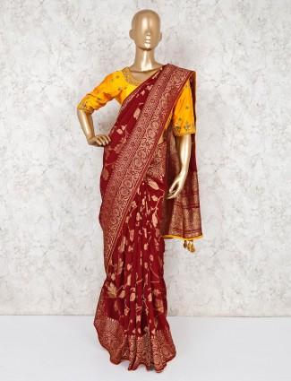 Beautiful maroon silk wedding saree with ready made blouse