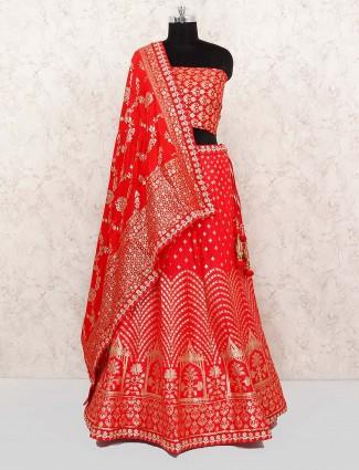 Beautiful red color banarasi silk semi stitched lehenga choli