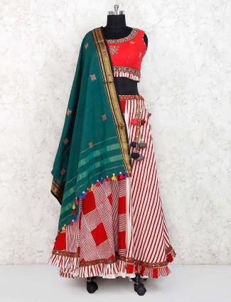 Beautiful red color cotton festive lehenga choli