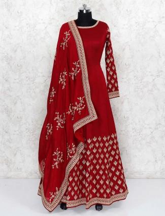 Beautiful red color cotton silk floor length anarkali salwar suit