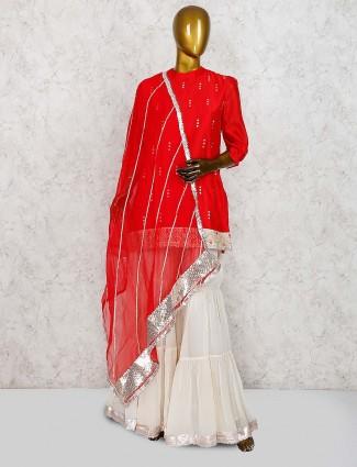 Beautiful red color cotton silk punjabi sharara suit