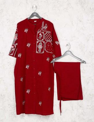 Beautiful red color festive cotton kurti set