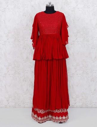 Beautiful red color georgette lehenga choli