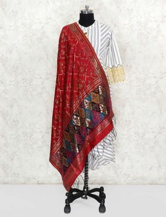 Beautiful red color pashmina silk dupatta